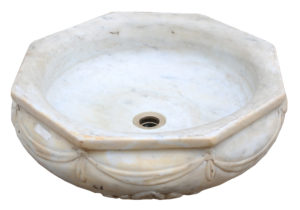 An Antique English Carved Marble Basin