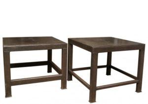 Three Reclaimed Industrial Style Steel Work or Display Tables