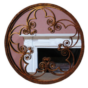 A Pair of Ornate Antique Wrought Iron Wall Mirrors
