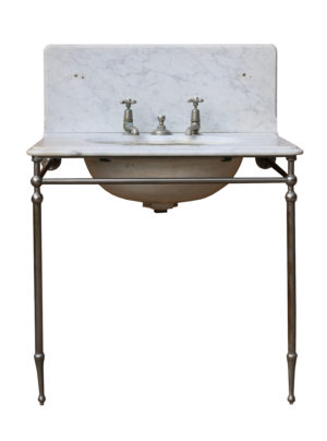 An Antique 'Shanks & Co' Carrara Marble Plunger Basin or Sink