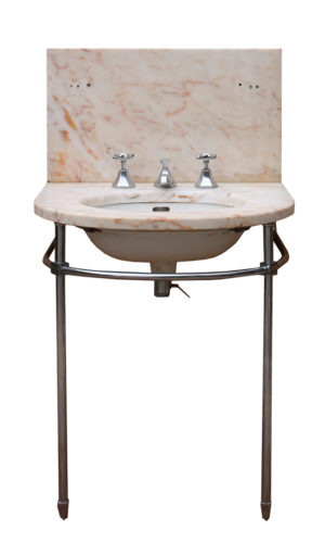 Art Deco Marble Basin / Sink with Chrome Stand