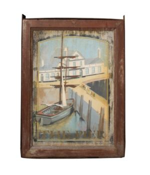 A Reclaimed Hand Painted Pub Sign 'The Pier'