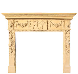 An Antique English Carved Wood Fire Surround