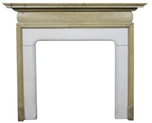 An Antique Pine Fire Surround with Limestone Slips
