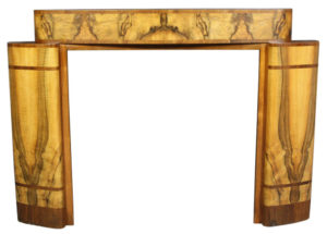 A Striking Art Deco Burr Walnut Fire Surround