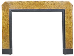 A Fine Burr Walnut and Inlaid Art Deco Fire Surround
