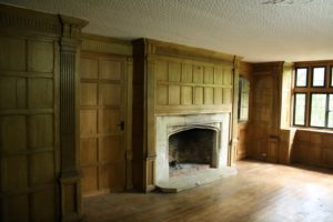 Antique Wall Panelling / Panelled Room with a Stone Fireplace