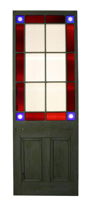 Victorian Stained Glass Door With Cut Glass Corners