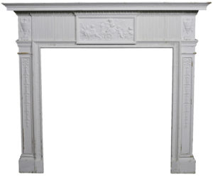 A Painted Antique Pine and Composition Fire Surround