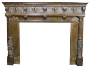 A Large Antique English Carved Oak Fire Surround