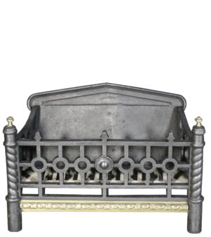 A Small Antique Cast Iron and Brass Fire Grate
