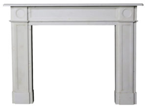 A Fine English Regency White Statuary Marble Fire Surround