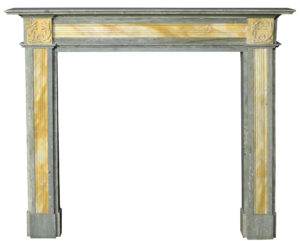 An Antique Swedish Green and Sienna Marble Fire Surround