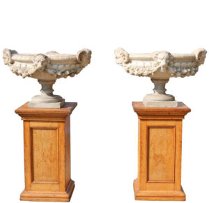 Pair of Fine Antique Italian Marble Tazza Urns