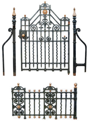 An Antique Cast Iron Gate with Posts and 12.5 Meters of Railings