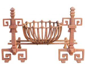 An Antique English Wrought Iron Fire Basket