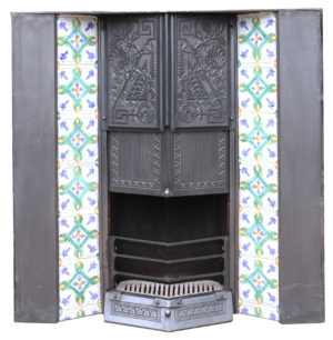 A Reclaimed Arts & Crafts Style Tiled Fire Insert