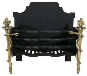 An Antique Fire Grate with Entwined Serpent Standards