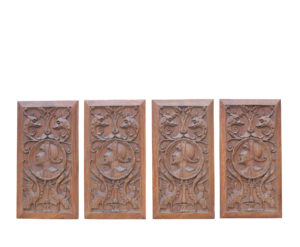 Four Antique Carved Oak Panels Depicting Mythical Creatures and Gentleman In Period Costume