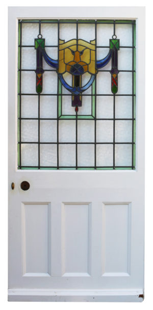 A Reclaimed Stained Glass Front Door