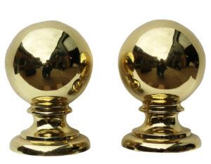 A pair of Antique English Brass Ball Finials