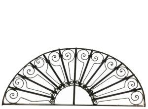 A Salvaged Antique Wrought Iron Semi Circular Window