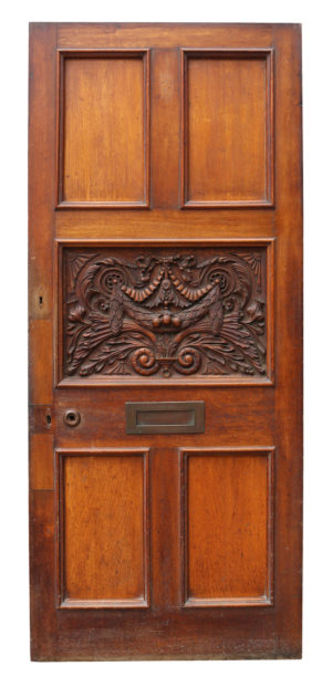 A Victorian Carved Oak Front or Exterior Door
