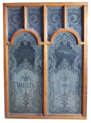 Two 19th Century Etched Glass and Mahogany Pub Screens