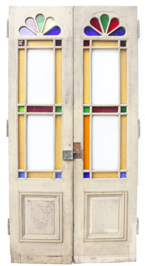 A Set of Antique Interior Stained Glass Double Doors