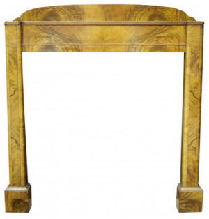 An Original Art Deco Style Walnut Fire Surround