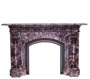 An Antique Red Levanto Marble Fireplace