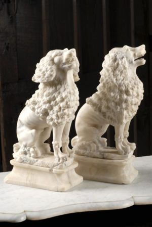 Pair of Antique Alabaster Spaniels