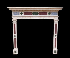Early Italian Istrian Stone And Marble Inlaid Chimneypiece