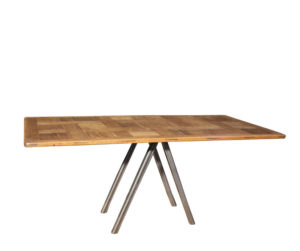 An Industrial Style Oak and Steel Dining Table or Desk