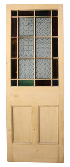 Victorian Stained And Etched Glass Exterior Pine Door