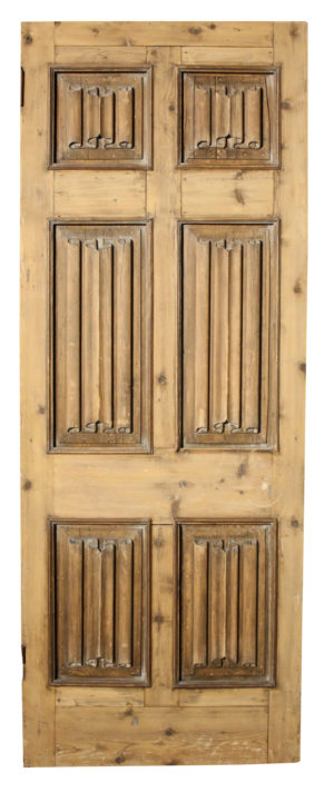A Victorian External Door with Carved Linen Fold Panels