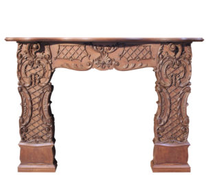 An Antique Rococo Style Carved Mahogany Fire Surround