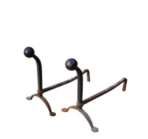 Pair Of 19th Century Wrought Iron Fire Dogs