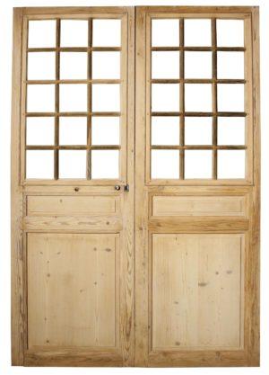 A Set of Antique Glazed Pine Double Doors