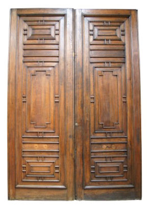 A Pair of 12ft Tall Antique English Oak Doors From The Palace of Westminster