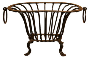 An Antique Wrought Iron Bowl Shaped Fire Grate