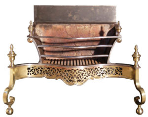 A Large Iron and Brass George III Style Fire Grate
