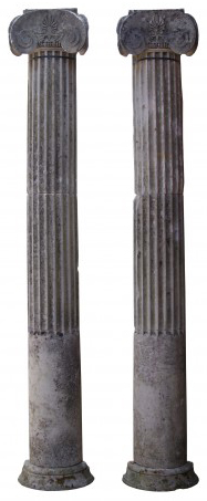 A Pair of Antique Carved Stone Column Pilasters