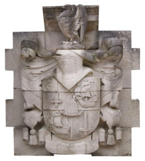 A Large English Antique Carved Portland Stone Armorial Crest