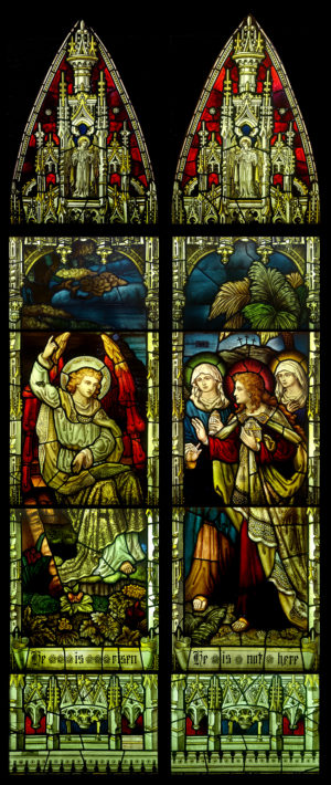 Antique Stained Glass Window Depicting Christ Rising