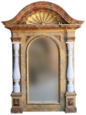 An Antique Italian Gilt and Faux Marble Mirrored Niche