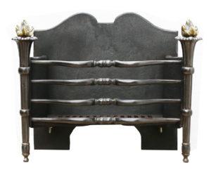 An Antique English Fire Grate with Brass Torch Finials