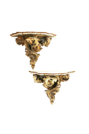 Pair of Early Antique Italian Polychrome Wall Brackets