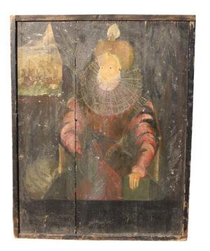 Hand Painted Pub Sign Depicting Queen Elizabeth I