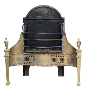 An Antique George III Style Brass and Steel Fire Grate